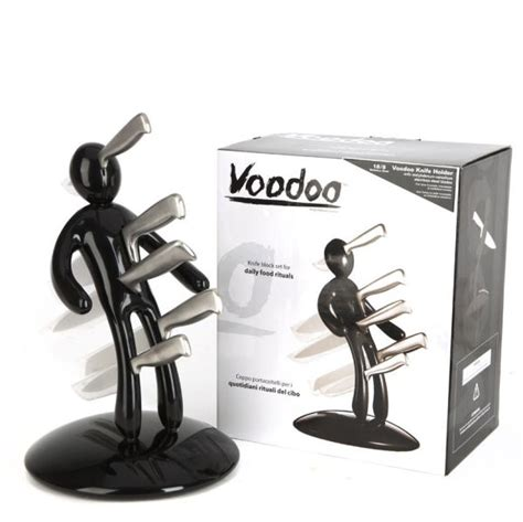 Large Kitchen Knives black voodoo knife block with 5 knives by raffaele