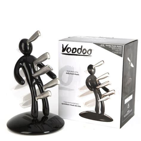 Black Voodoo Knife Block with 5 Knives by Raffaele