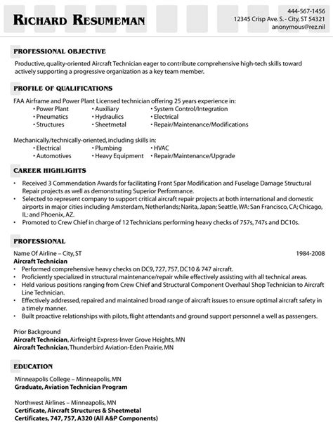 Aircraft Mechanic Resume by Aircraft Mechanic Resume Objective Exles Personal
