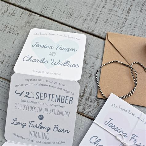 tri fold wedding invitation on white by paper and inc notonthehighstreet