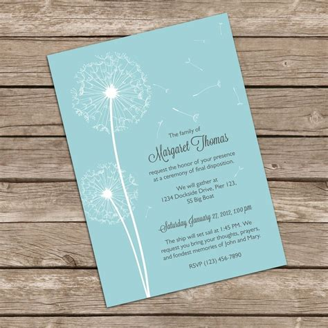 beautiful dandelion mourning cards for memorial funeral