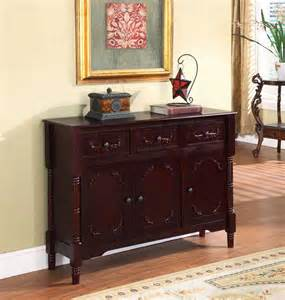 Cherry modern console sideboard table with storage and drawers