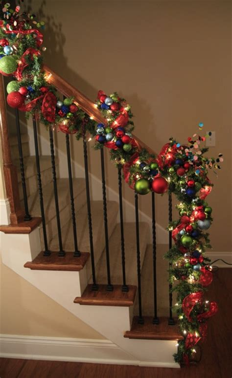 christmas lights for stair banisters 54 colorful christmas inspiring decor ideas digsdigs