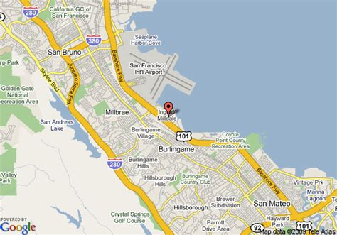 san francisco map with airport map of marriott san francisco airport burlingame