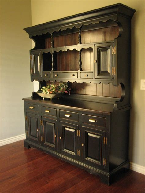 My Hutch European Paint Finishes Rustic Black Farmhouse Hutch