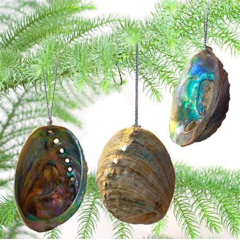 natural paua shell christmas decorations set of 3
