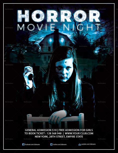 Thrilling Horror Movie Night Flyer Design Template In Psd Word Publisher Horror Trailer Template Free