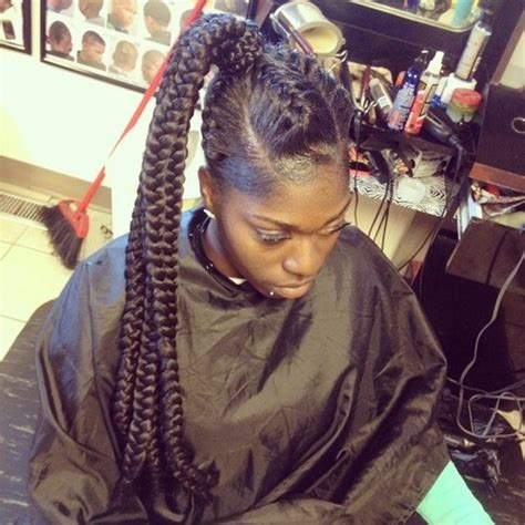 pictures of african braids with braided pony tail at the top braids hanging down in back 30 classy black ponytail hairstyles