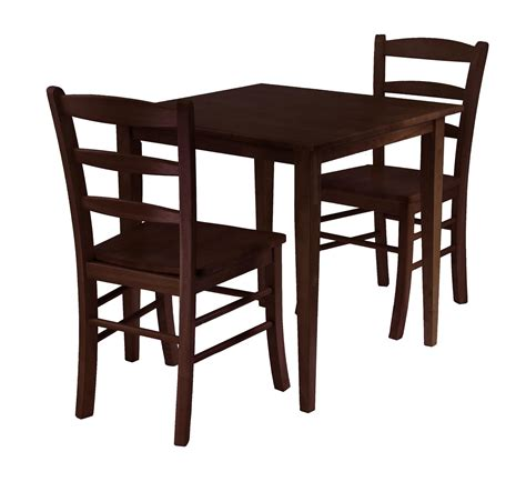 winsome groveland 3pc square dining table with 2 chairs by
