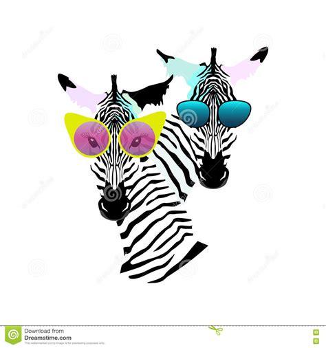 zebra fashion illustration abstract watercolor pattern two striped zebra sunglasses stock illustration