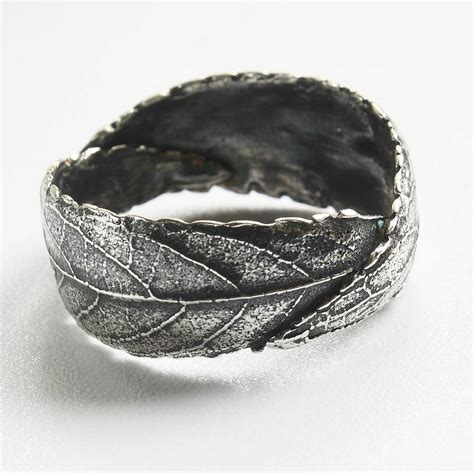 bregenz ring silver original handmade woodland unisex silver leaf ring by caroline