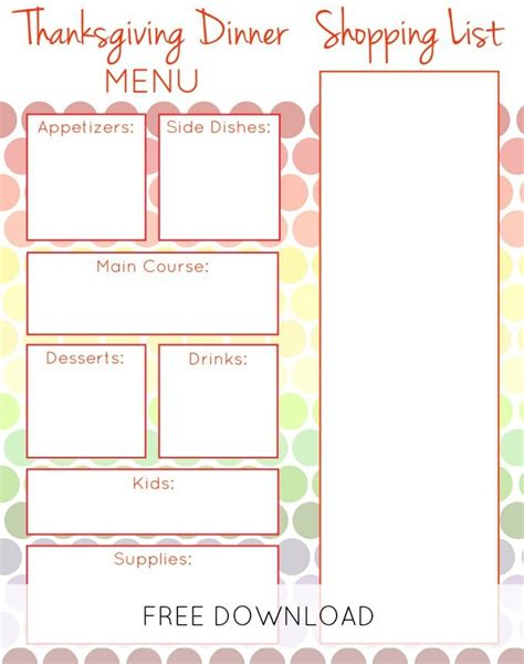 printable thanksgiving dinner planner free thanksgiving meal planner