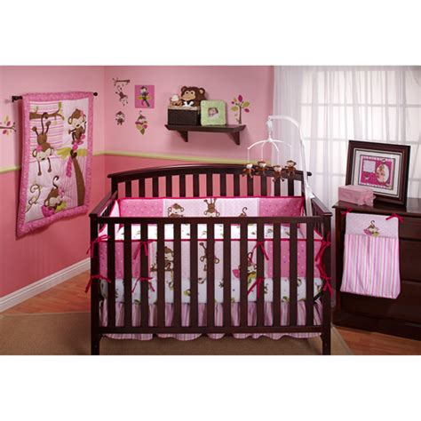walmart baby girl bedding little bedding by nojo 3 little monkeys 10pc nursery in