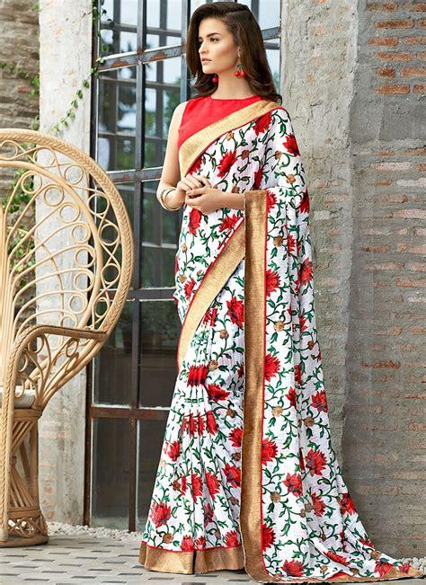 flower design sarees organic linen corporate white red saree hunardesigns com