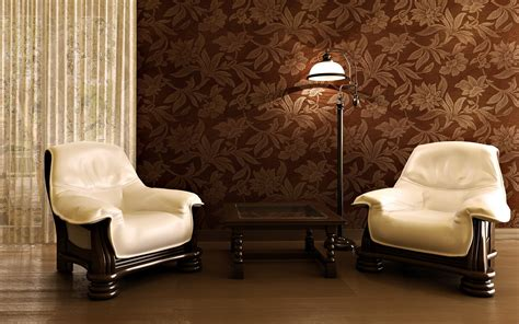 Living room design with amazing wallpaper and simple cozy chair hupehome