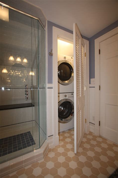 how to hide washer and dryer in bathroom washer dryer traditional bathroom cleveland by