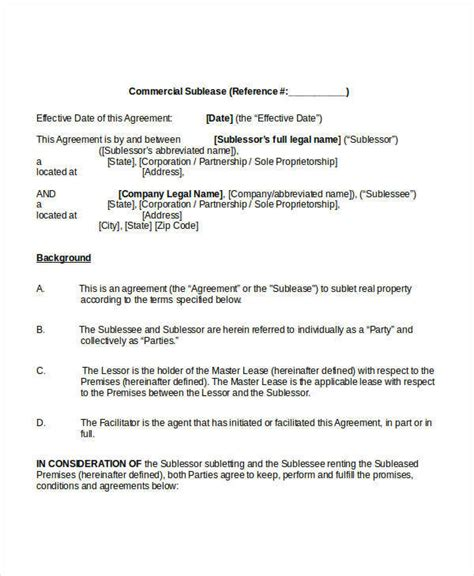 sublease agreement template 10 free word pdf documents
