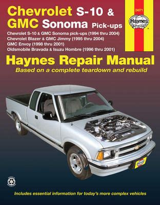 chevrolet s 10 gmc sonoma pick ups haynes repair manual 1994 2004 hay24071
