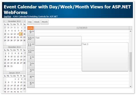 tutorial asp net webforms event calendar with day week month views for asp net