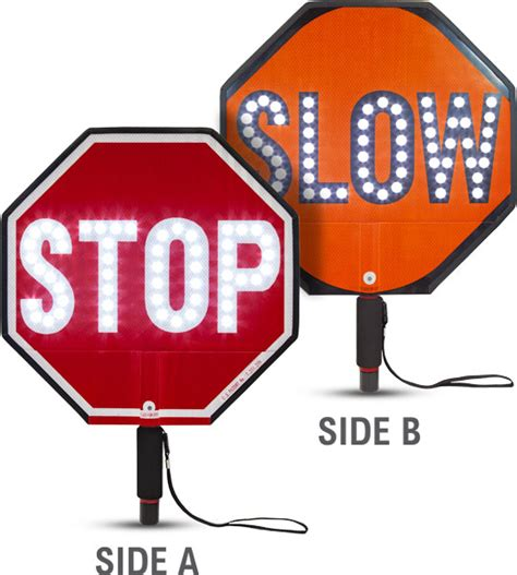 hand held stop sign with led lights 18 quot led stop slow paddle y5000 by safetysign com