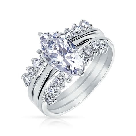 925 silver marquis cut cz engagement wedding ring set with