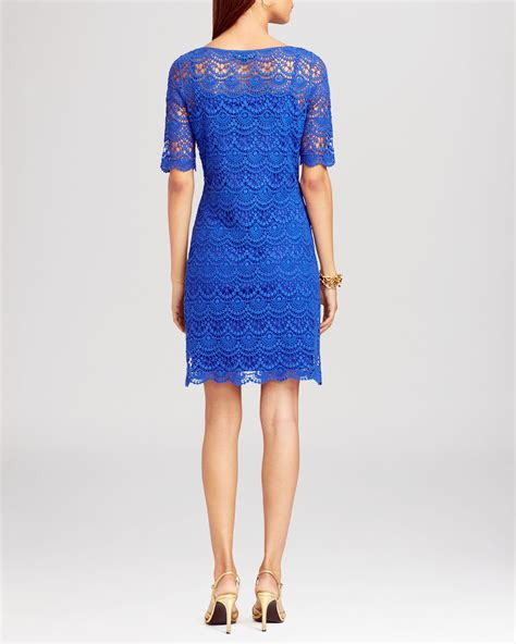 Boat Neck Dress lyst ralph dress boat neck lace in blue