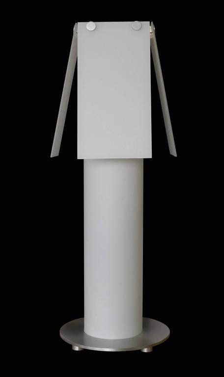 glass cylinder l base white glass cylinder l with satin aluminum base