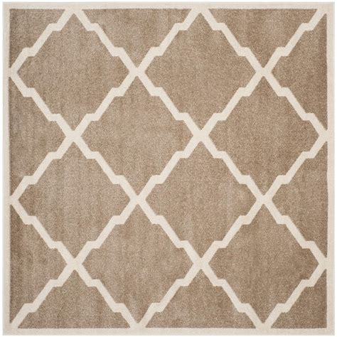 Square Outdoor Rugs Safavieh Amherst Wheat Beige 9 Ft X 9 Ft Indoor Outdoor Square Area Rug Amt421s 9sq The Home