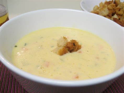 Soups On Cheddar Cheese Soup With Croutons soup s on cheddar cheese soup with croutons popsugar food