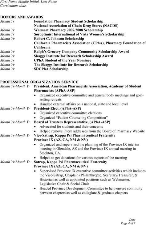 sample student pharmacist resume templates