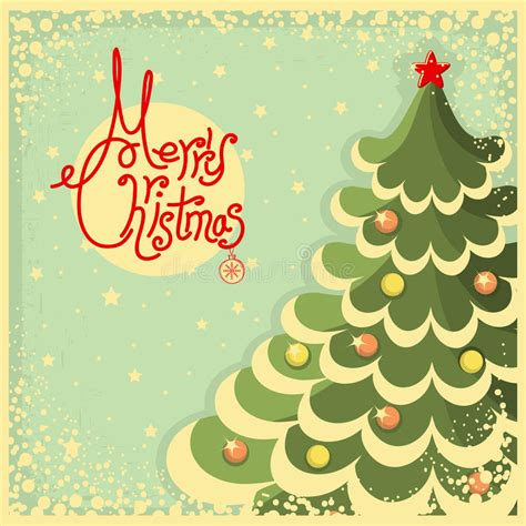 Vintage Christmas Card With Tree And Text Stock Vector Illustration Of Festive Postcard 34492829 Vintage Family Tree Royalty Free Stock Images Image 32018779