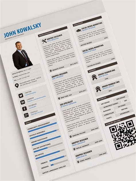 Resume Template Psd Tips 34 Free Professional Resume Cv Psd Templates