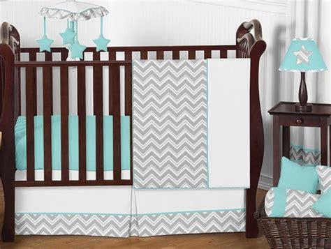Sweet Jojo Zig Zag Crib Bedding Turquoise And Gray Chevron Zig Zag Baby Bedding 4pc Crib Set By Sweet Jojo Designs Only 139 99