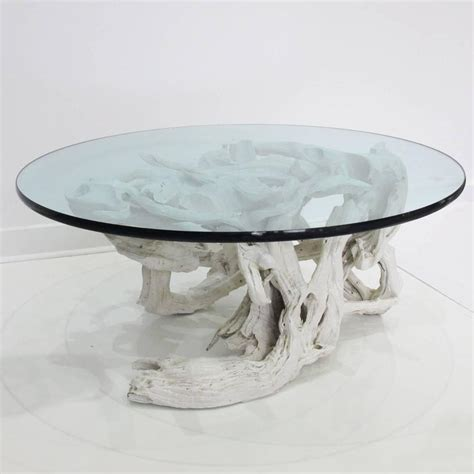 large sculptural driftwood with white gesso coffee table