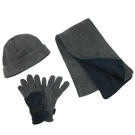 mens fleece hat gloves and scarf winter set by scarves