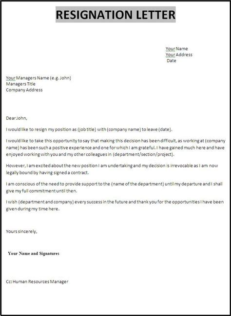 collection of solutions letter of resignation due to conflict with