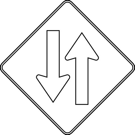 Road Sign Outlines by Two Way Traffic Outline Clipart Etc