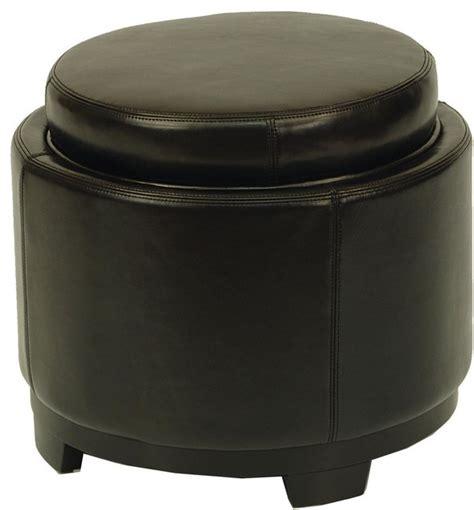 round modern ottoman round storage tray ottoman black contemporary
