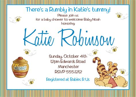 winnie the pooh boy baby shower invitations printable photo