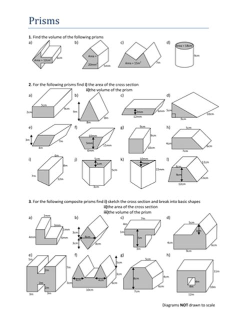 Volume Of Shapes Worksheet by Volumes Of Prisms Worksheet By Tristanjones Teaching