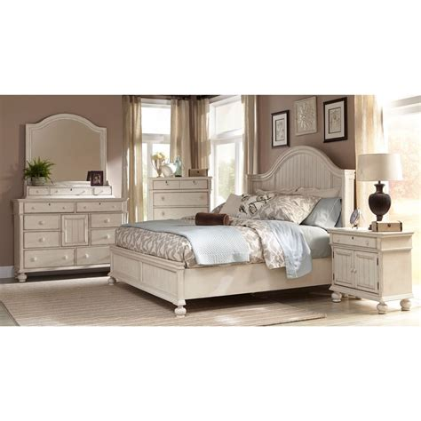 bed and bedroom furniture greyson living laguna antique white panel bed 6 piece