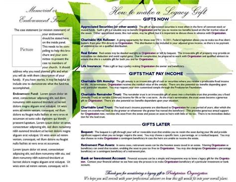 planned giving brochures templates sletemplatess