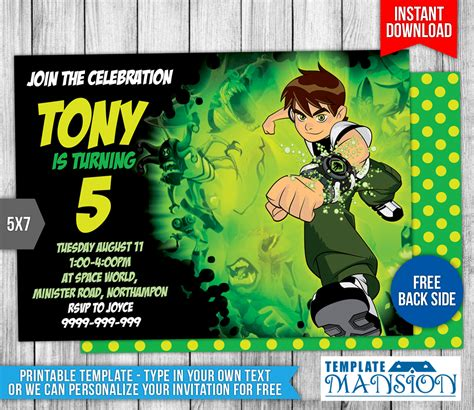 Ben 10 Birthday Invitation Wording Birthday Tale Ben 10 Birthday Invitation Cards Templates