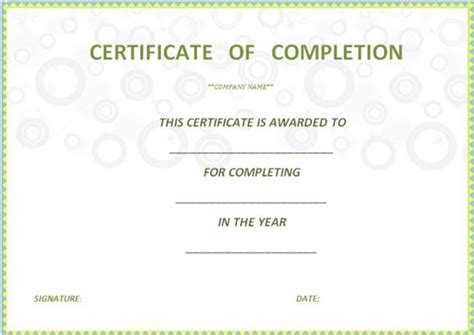 certificate of completion free template word certificate of completion template 55 word templates