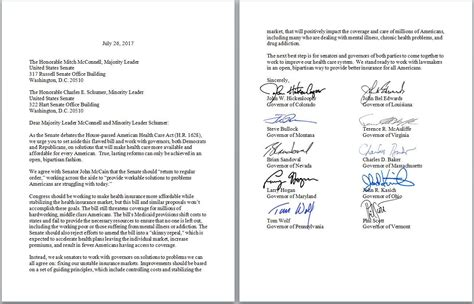 gov 9 other governors urge senators not to repeal