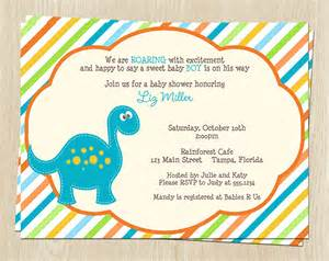 dinosaur baby shower invitations blue orange by theinviteladyshop