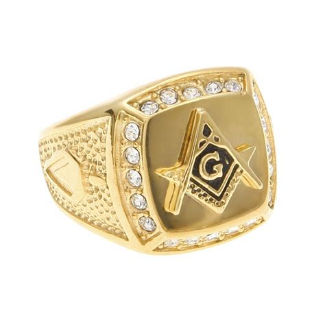 selling gold filled masonic ring new stainless steel