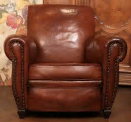 Art Deco Leather Armchair French Art Deco Period Leather Club Chair At 1stdibs