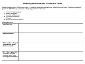 event debrief report template debriefing reflection after a differentiated lesson