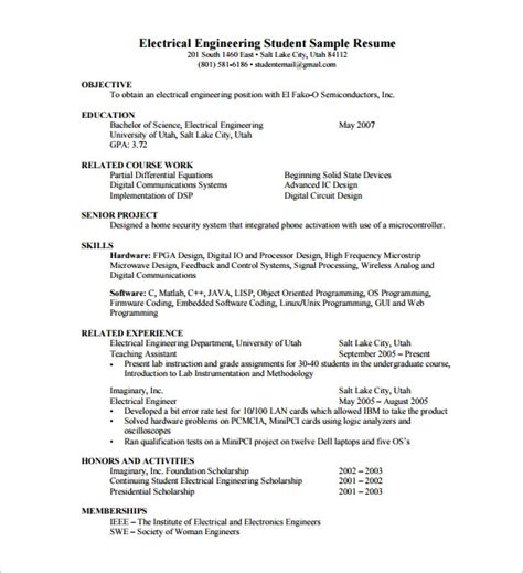 Resume Sles For Freshers Electrical Sle Resume Format Pdf Best Resume Gallery